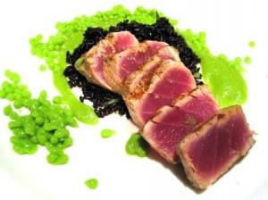 Ahi with Pea Caviar