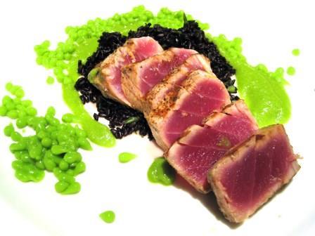 Ahi Tuna, English Pea Caviar, Forbidden Rice, Bordeaux Wine