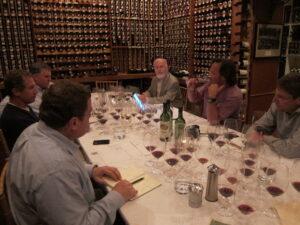 Matthesen Blind group with glasses 300x225 Blind Tasting Bordeaux Wine, Rhone Wine & More 7 Blind Men