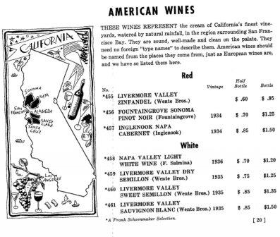 California Old Wine Menu Inglenook Niebaum Coppola Estate Winery Napa Valley California Wine