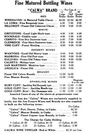 Vintage Napa WIne Price List Complete Napa Valley California Wine History from Early 1800s to Today