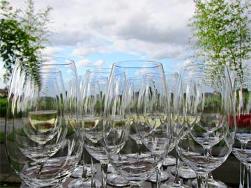 Bordeaux wine Glasses blue sky